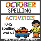 October Spelling Activities for any list