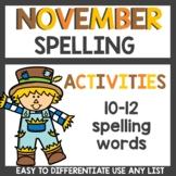 November Spelling Activities