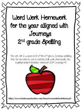 Spelling 2nd grade Journeys ABC order Unit 2 Lessons 6-10