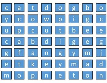 Spelling (3 & 4 letter words) Workbox or File Folder