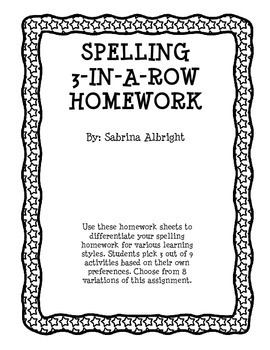 Spelling 3-in-a-Row Homework