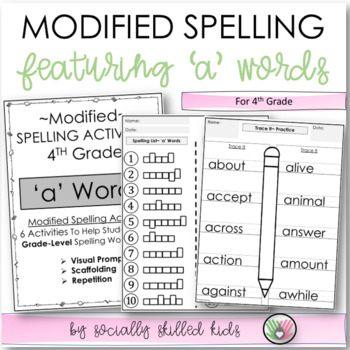 "Spelling: 4th Grade Modified (""a"" Words)"