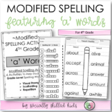 FREE Modified Spelling Activities For 4th Grade {'a' words}