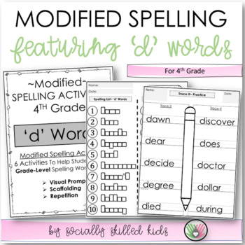 """Spelling: 4th Grade Modified (""""d"""" Words)"""