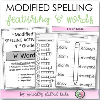 "Spelling: 4th Grade Modified (""e"" Words)"