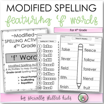 """Modified Spelling List & Activities For 4th Grade {""""f"""" words}"""
