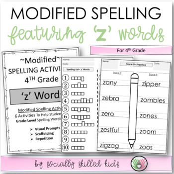 "Spelling: 4th Grade Modified (""z"" Words)"