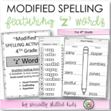 FREE Modified Spelling Activities For 4th Grade {'z' words}