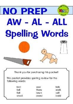 Spelling - AW - AL - ALL