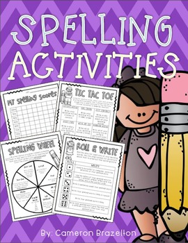 Spelling Homework Activities (Task Cards, Choice Boards, Tic Tac Toe)