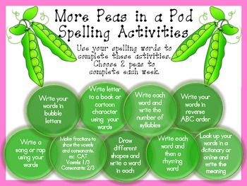 Spelling Activities--2 Peas in a Pod
