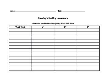 Weekly Spelling HW Packet