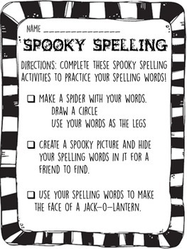 Halloween Spelling Activities