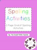 Spelling Activities - Grid