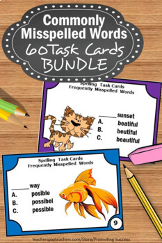 Spelling Activities, Commonly Misspelled Words, Spelling BUNDLE of Task Cards