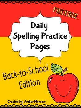 Spelling Activities: Back To School FREEBIE