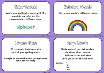 Spelling Activities Cards