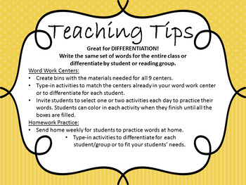 Spelling Activities {Choice Board}