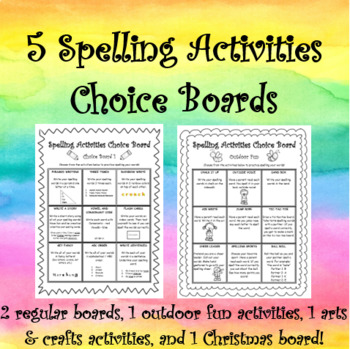 Spelling Activities Choice Boards - 5 Choice Boards Included