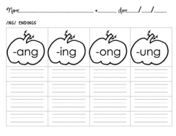 Spelling Activities Diphthong -ng