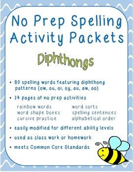 Spelling Activities - Diphthongs
