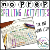 Spelling Activities For Any Word List- Homework or Centers- Distance Learning
