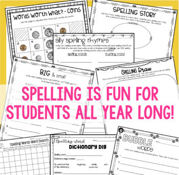 SPELLING ACTIVITIES: Differentiated for ALL Word Lists (10, 15, 20 & 25 Words!)