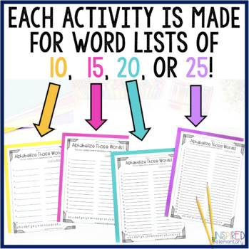 SPELLING ACTIVITIES - NO PREP - For ALL Word Lists (10, 15, 20 & 25 Words!)