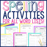 Spelling Activities for Any List of Words (10, 15, 20 & 25 Words)
