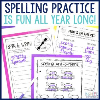 Spelling Activities Fun Practice Pack FREEBIES!