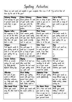 Spelling Activities Grid