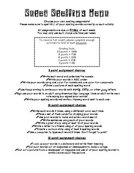 Spelling Activities Homework