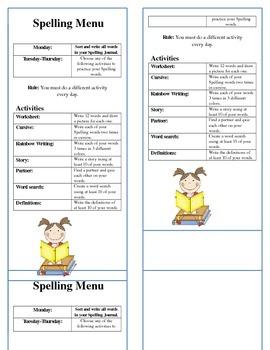 Spelling Activities Menu