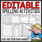 Spelling Activities for Any List of Words - EDITABLE Word Work Centers