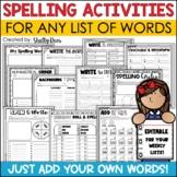 Spelling Activities for Any List of Words EDITABLE Word Work Centers