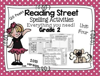Spelling Activities Reading Street - Grade 2 Unit Four Ver