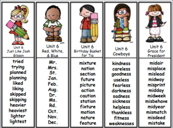 Spelling Activities Reading Street - Grade 2 Unit Six Version 2011