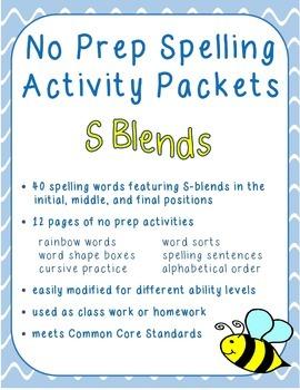 Spelling Activities - S Blends