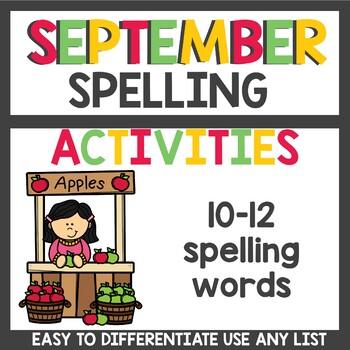 Spelling Homework for September