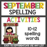 Spelling Activities for Any List September