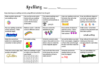 Spelling Activities Table FREEBIE