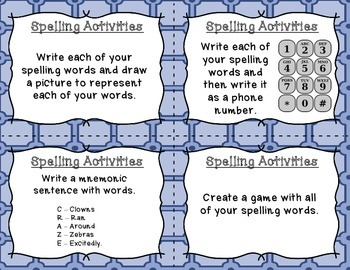 Spelling Activities - Task Cards for Middle students