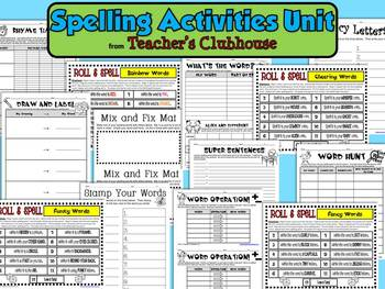Spelling Activities Unit from Teacher's Clubhouse