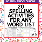 Spelling Activities Worksheets for Any Word List