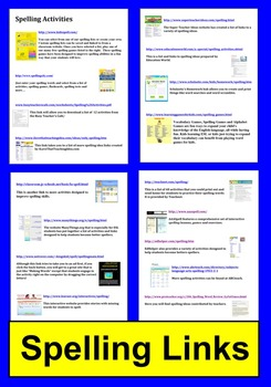 Spelling Activities and Literacy Centers Links - Technology Integration