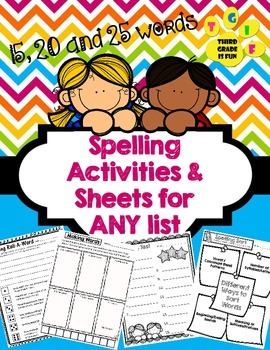 Spelling Activities and Sheets for ANY list (15, 20 & 25 words)