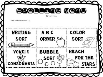 Spelling Activities for ANY Words Their Way List