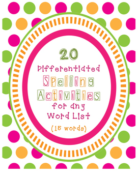 Spelling Activities for Any 15 Word List