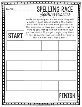 NO PREP Spelling Activity Worksheets for Any List 2nd, 3rd, 4th, 5th Grade