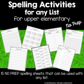Spelling Activities for Any List for Upper Elementary- No Prep